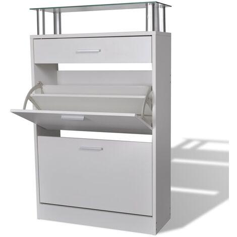 Mueble zapatero con cajón y estante superior de vidrio blanco