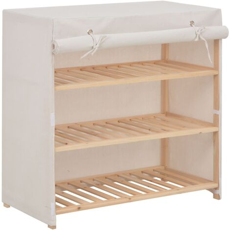 Mueble zapatero con funda de tela blanco 79x40x80 cm
