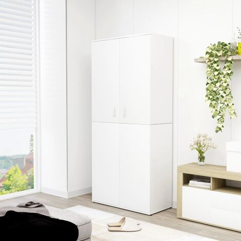 Mueble zapatero de aglomerado blanco 80x39x178 cm