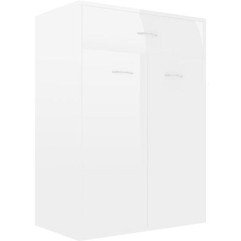 Mueble zapatero de aglomerado blanco brillante 60x35x84 cm