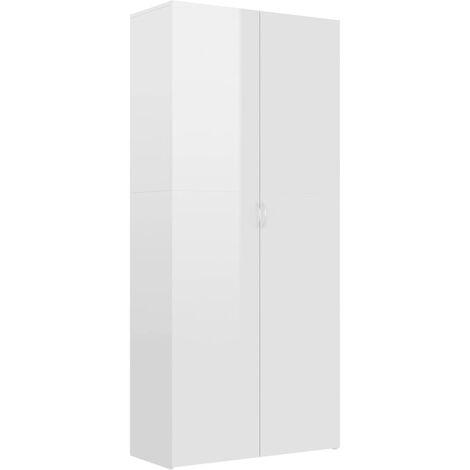 Mueble zapatero de aglomerado blanco brillante 80x35,5x180 cm