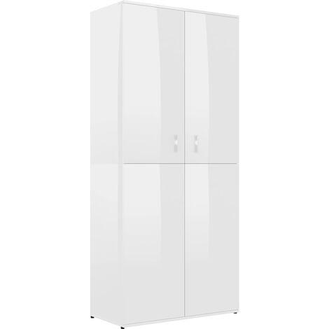 Mueble zapatero de aglomerado blanco brillante 80x39x178 cm