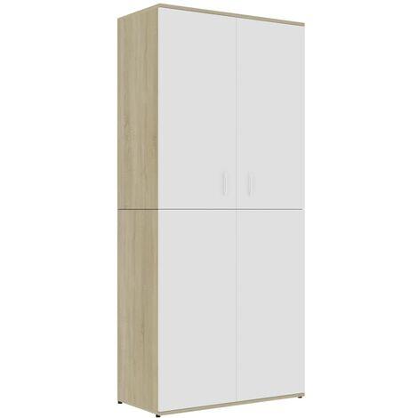 Mueble zapatero de aglomerado blanco y roble Sonoma 80x39x178cm