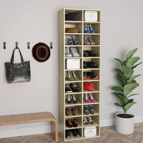 Mueble zapatero de aglomerado color roble Sonoma 54x34x183 cm