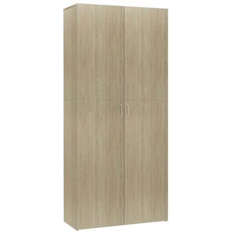 Mueble zapatero de aglomerado color roble Sonoma 80x35,5x180 cm