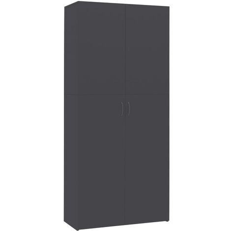 Mueble zapatero de aglomerado gris 80x35,5x180 cm