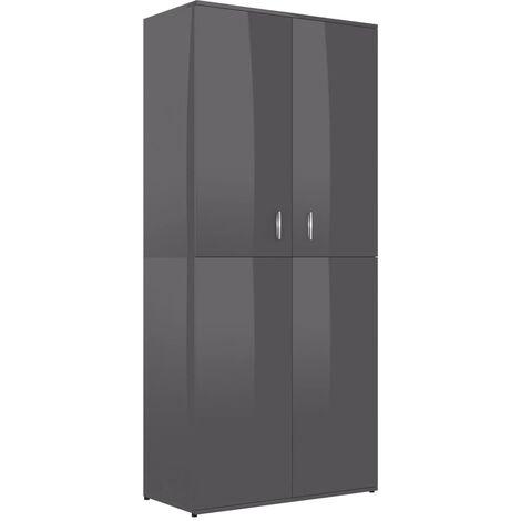 Mueble zapatero de aglomerado gris brillante 80x39x178 cm