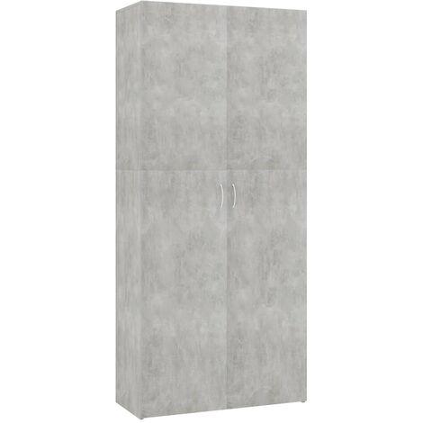 Mueble zapatero de aglomerado gris hormigón 80x35,5x180 cm