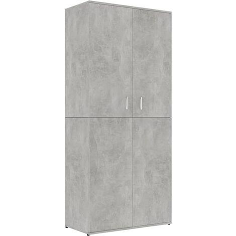Mueble zapatero de aglomerado gris hormigón 80x39x178 cm