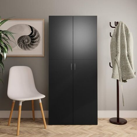 Mueble zapatero de aglomerado negro 80x35,5x180 cm