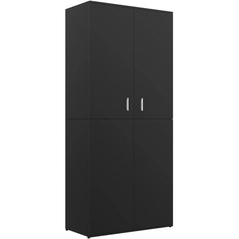 Mueble zapatero de aglomerado negro 80x39x178 cm