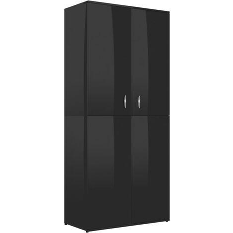 Mueble zapatero de aglomerado negro brillante 80x39x178 cm