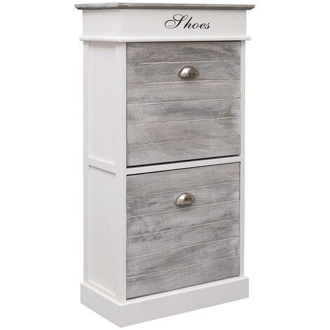 Mueble zapatero de madera de Paulownia gris 50x28x98 cm