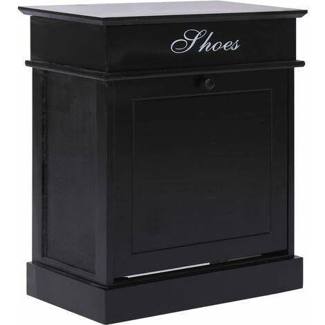 Mueble zapatero de madera de Paulownia negro 50x28x58 cm