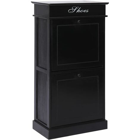 Mueble zapatero de madera de Paulownia negro 50x28x98 cm