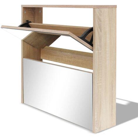 Mueble zapatero de roble 2 compartimentos con espejo 63x17x67cm