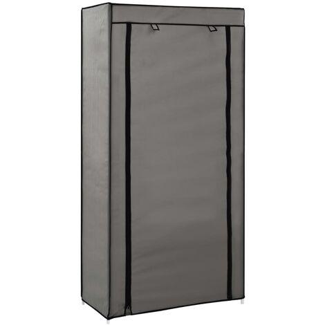 Mueble zapatero de tela con funda gris 58x28x106 cm