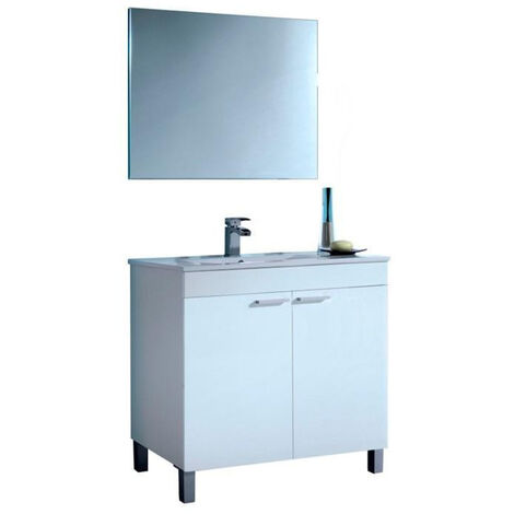 Muebles Baño - Set Mueble Espejo Lavabo Blanco 80 cm Pima