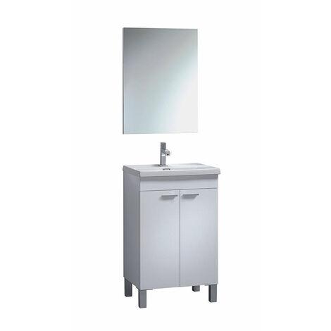 Muebles Baño - Set Mueble Espejo Lavabo Blanco Carrie