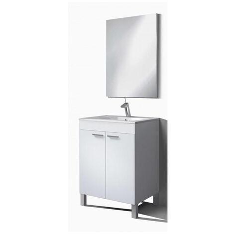 Muebles Baño - Set Mueble Espejo Lavabo Blanco Daes