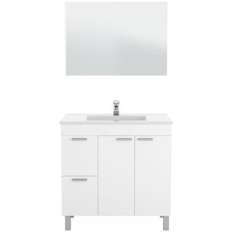 Muebles Baño - Set Mueble Espejo Lavabo Blanco Niste