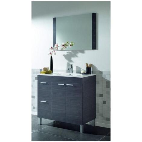 Muebles Baño - Set Mueble Espejo Lavabo Gris Lenna