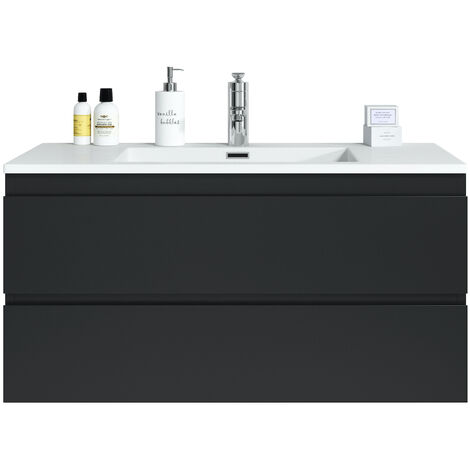 Muebles de baño Angela 100cm Negro mate - armario de base lavabo bano