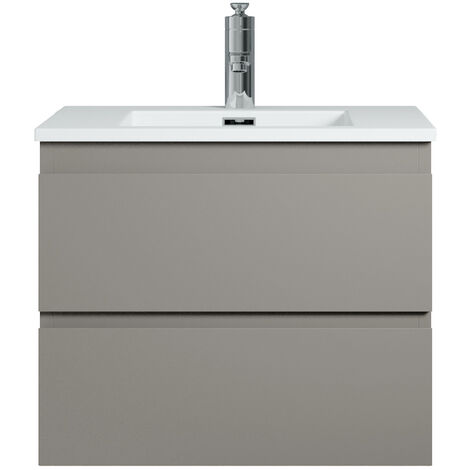 Muebles de baño Angela 60cm Gris mate - Lavabo Blanco mate - armario de base lavabo bano
