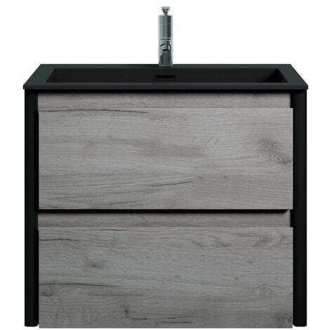 Muebles de baño Bocay 60cm Roble gris - Lavabo Negro - armario de base lavabo bano