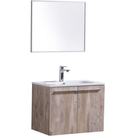 Muebles de baño Colombia 60cm con espejo Madera natural - armario de base lavabo armario bano