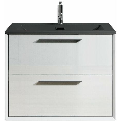 Muebles de baño Colon 60cm Blanco de alto brillo - Lavabo Negro - armario de base lavabo bano