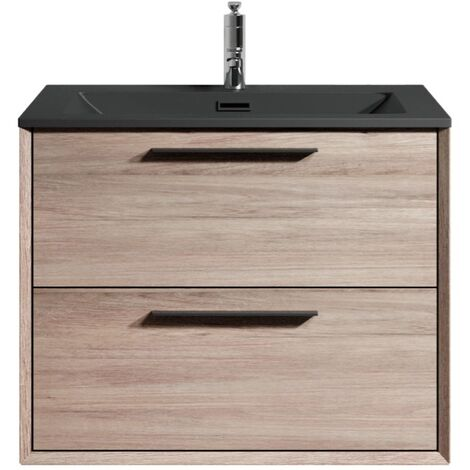 Muebles de baño Colon 60cm Roble claro - Lavabo Negro - armario de base lavabo bano