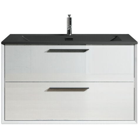 Muebles de baño Colon 90cm Blanco de alto brillo - Lavabo Negro - armario de base lavabo bano