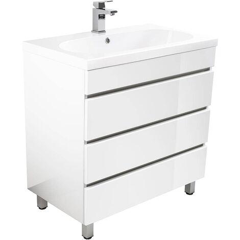 Muebles de baño de pie Talis 70 Blanco brillante con 3 cajones sin tiradores