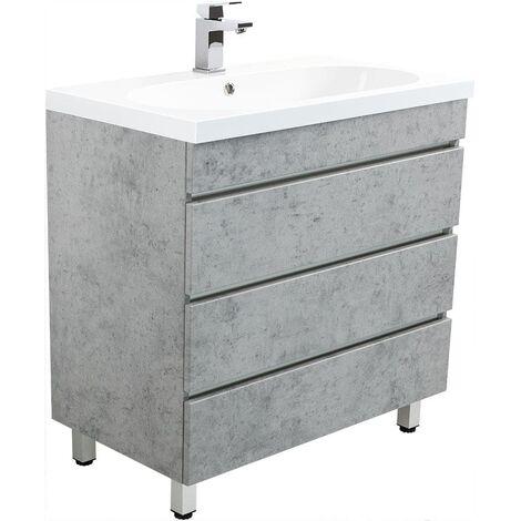 Muebles de baño de pie Talis 70 Gris hormigón con 3 cajones sin tiradores