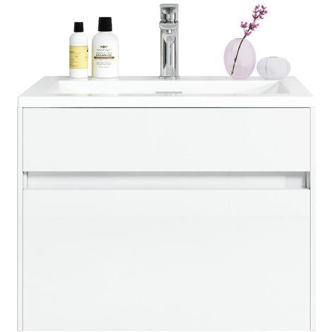 Muebles de baño Lyon 60cm blanco de alto brillo - armario de base lavabo bano
