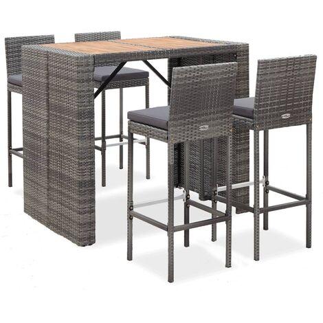 Muebles de bar jardín 5 pzas ratán sintético madera acacia gris