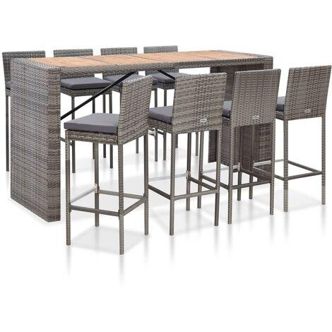 Muebles de bar jardín 9 pzas ratán sintético madera acacia gris