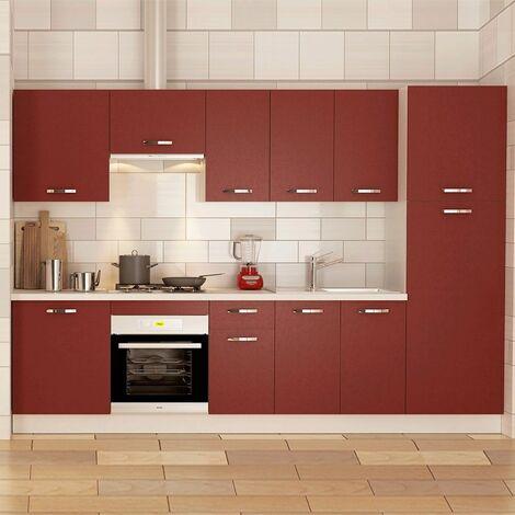 Muebles de cocina MARTA color burdeos. Cocina completa con despensero