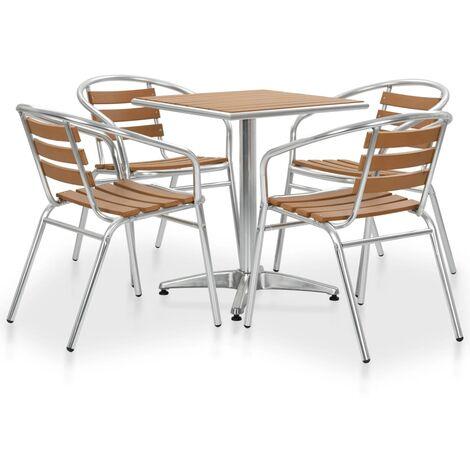 Muebles de comedor de jardín 5 piezas aluminio WPC plateado
