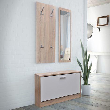 Muebles de entradita con zapatero madera 3 color roble y blanco