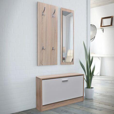 Muebles de entradita con zapatero madera 3 color roble y blanco - Marrón