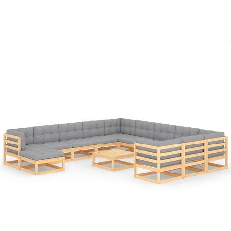 """main image of """"Muebles de jardin 13 piezas con cojines madera de pino maciza"""""""