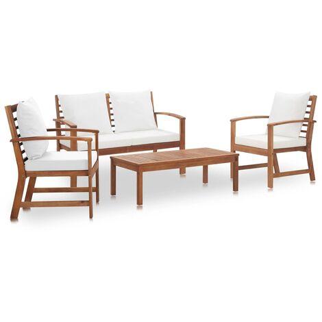 Muebles de jardín 4 piezas con cojines madera maciza de acacia