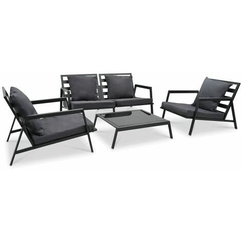 Muebles de jardín 4 pzas y cojines de aluminio gris oscuro