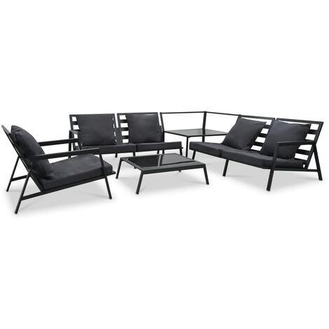 Muebles de jardín 5 pzas y cojines de aluminio gris oscuro