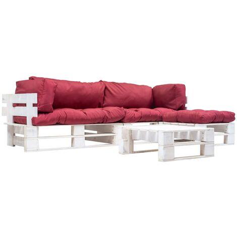 Muebles de jardín de palés cojines rojos madera verde 4 uds