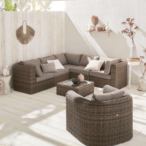 Muebles de jardin, Rattan sintetico, Beige, 6 plazas ...