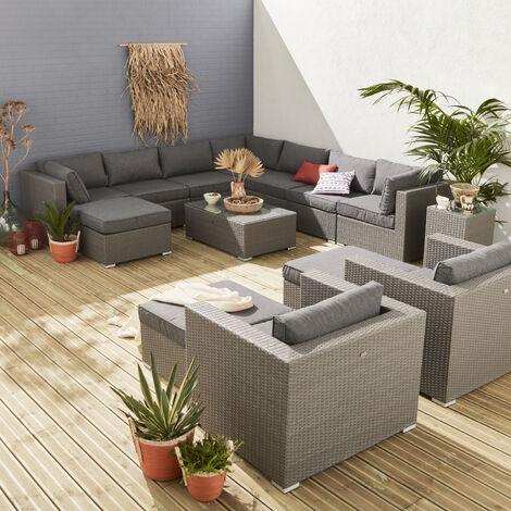 Muebles de jardin, Rattan sintetico, Gris, 12 14 plazas, | Tripoli