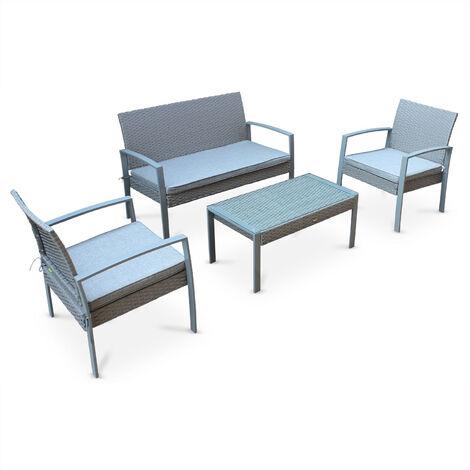 Muebles de jardín, Rattan sintético, Gris, 4 plazas - Gris claro